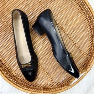Salvatore Ferragamo Black Leather Block Heel Shoes